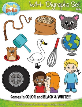 WH- Digraphs Words Clipart Set — Includes 20 Graphics!