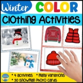 Winter Clothing Snowman Color Match Question Game- SpecEd,