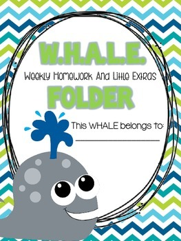 W.H.A.L.E. Folder {Weekly Homework And Little Extras} Pare
