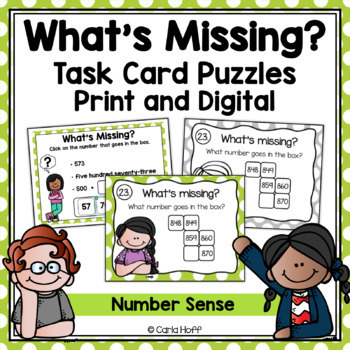 WHAT'S MISSING?  Task Cards - Follow the Clues Number Sens