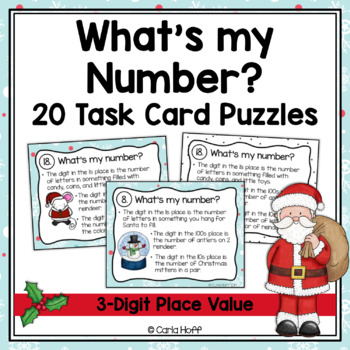 WHAT'S MY NUMBER? Task Cards - Christmas Place Value Puzzles