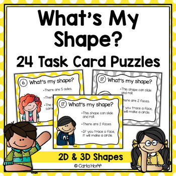 WHAT'S MY SHAPE? Task Cards -  Follow the Clues 2D and 3D