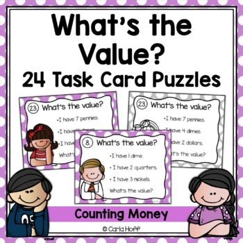 WHAT'S THE VALUE? Task Cards  Follow-the-Clues Money Puzzles