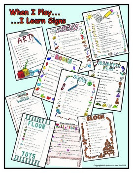 WHEN I PLAY… I LEARN … Classroom Center Signs-Kids Just Wa