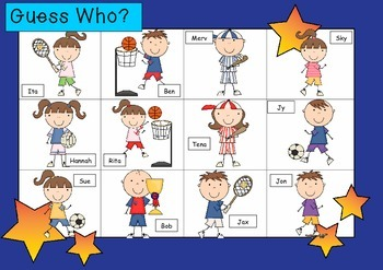 WHO AM I? # 10 SPORTY KIDS Oral language speaking game WHO