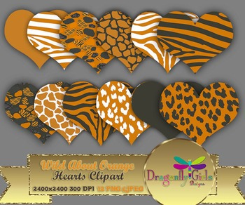 WILD About Burnt Orange Hearts commercial use,vector graph