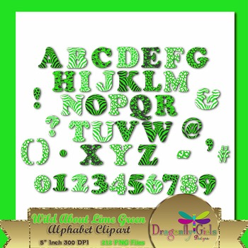 WILD About Lime Green Alphabet commercial use,vector graph