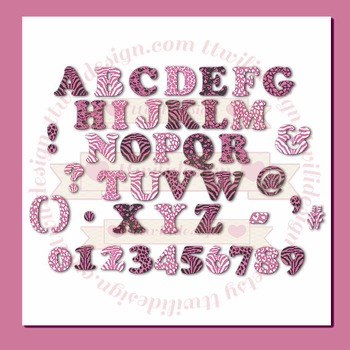 WILD About Pink Alphabet commercial use,vector graphics,di