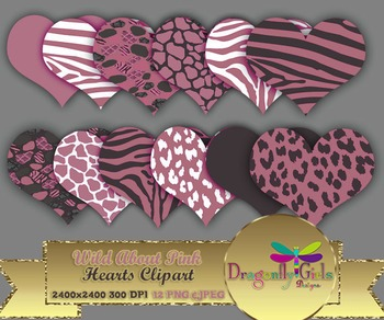 WILD About Pink Hearts clipart commercial use,vector graph