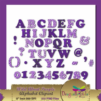 WILD About Purple Alphabet commercial use,vector graphics,