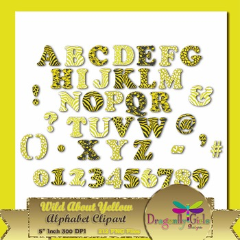 WILD About Sunny Yellow Alphabet commercial use,vector gra