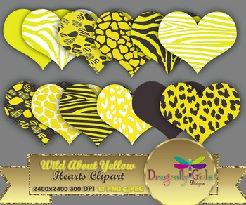 WILD About Yellow Hearts clipart commercial use,vector gra