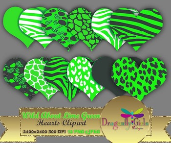 WILD About Lime Green Hearts commercial use,vector graphic