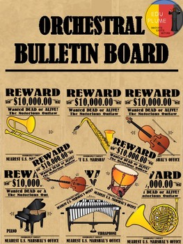 WILD WEST THEMED ORCHESTRAL INSTRUMENTS BULLETIN BOARD