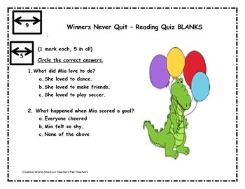 WINNERS NEVER QUIT BY MIA HAMM - SPELLING, WRITING SHEETS,