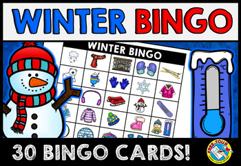 WINTER BINGO GAME FOR WHOLE CLASS: WINTER VOCABULARY GAMES