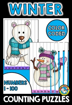 WINTER COUNTING PUZZLES: NUMBERS 1 TO 100: WINTER MATH CENTER