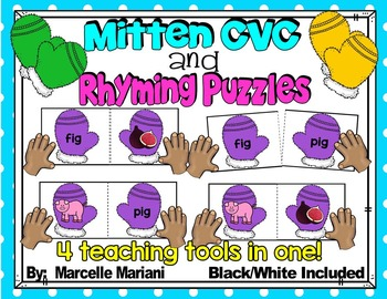 Rhyming activities-WINTER LITERACY CENTRE- Rhyming Puzzle