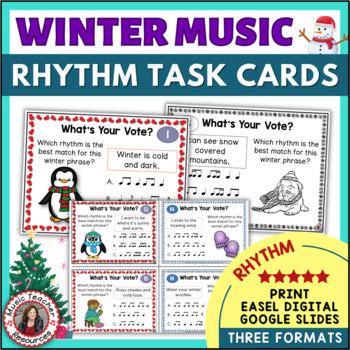 WINTER Music Activities: Rhythm Task Cards