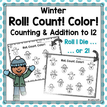WINTER Roll! Count! Color!  Printables for Counting and Ad