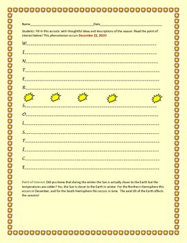 WINTER SOLSTICE WRITING ACTIVITY/ACROSTIC