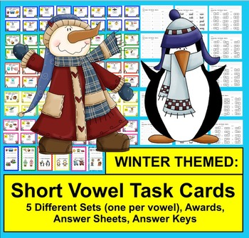 WINTER Task Cards - Short Vowels - 70 Cards Grouped by Vow