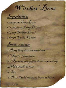 Witches' Brew -- Halloween magic recipe & labels (baking s
