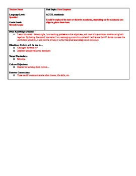 WL Lesson Planning Template