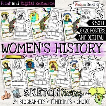 WOMEN'S HISTORY MONTH, BIOGRAPHIES, TIMELINES, SKETCHNOTES
