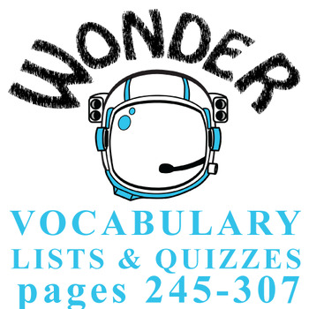 WONDER Palacio R.J. Novel Vocabulary List and Quiz (15 wor