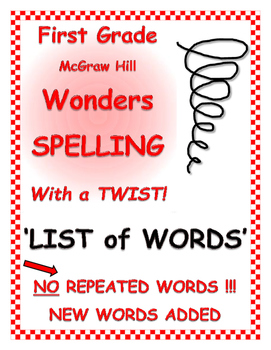 """WONDERS 1st Grade SPELLING with extra words! No repeats """"L"""