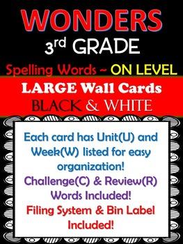 WONDERS 3rd Grade Large Wall Cards (Spelling) B&W ~Filing