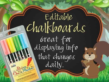 WOODLAND animals - Class Decor: editable chalkboard  POSTE