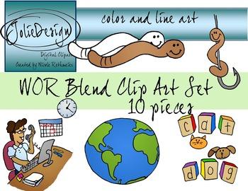WOR Blend Phonics Clip Art Set - Color and Line Art 10 pc set