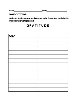 WORD DETECTIVE GAME: GRATITUDE