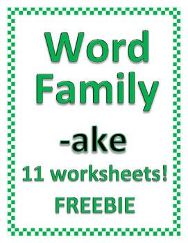 WORD FAMIILY -ake FREEBIE (Bundle of 36 advanced families