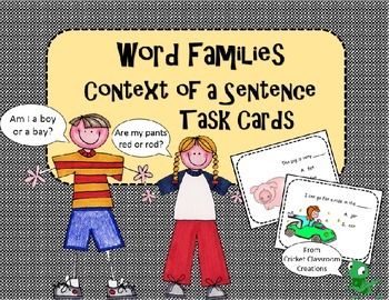 Word Families Task Cards: Word Family Words in Context of