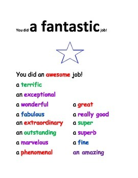 """ONE WORD OF THE WEEK POSTER - THE WORD IS """"FANTASTIC"""""""