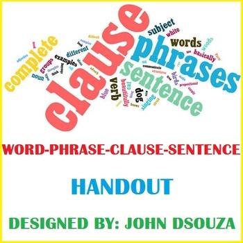WORD-PHRASE-CLAUSE-SENTENCE HANDOUT