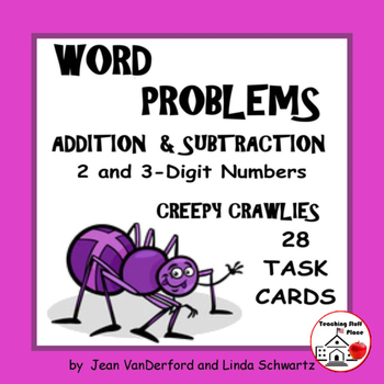 WORD PROBLEMS ADD & SUBTRACT   Creepy Crawlies Task Cards