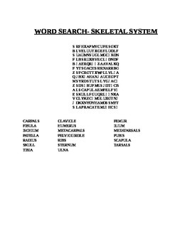 WORD SEARCH-SKELETAL SYSTEM