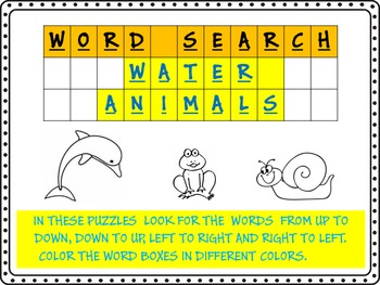 WORD SEARCH- WATER ANIMALS