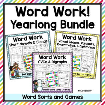 Word Work Bundle -  Word Sorts & Games for the Whole Year!