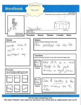 WORDBOOK: A Facebook-style Word-web Graphic Organizer w/ 1