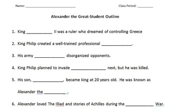 WORLD HISTORY: Alexander the Great Student Outline And Key