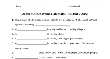 WORLD HISTORY: Ancient Greece-Warring City States-Student