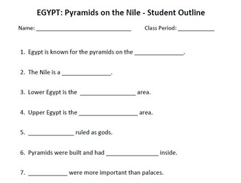 WORLD HISTORY: Egypt-Pyramids on the Nile-Student Notes Ou
