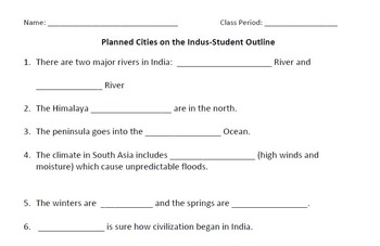 WORLD HISTORY: Planned Cities on the Indus (India) Student