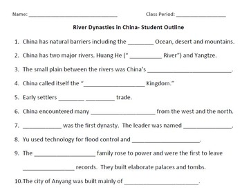 WORLD HISTORY: River Dynasties in CHINA-Student Notes Outl