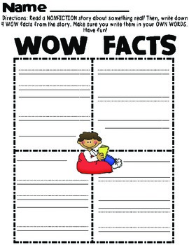 WOW Facts Nonfiction Reading Organizer *FREEBIE*